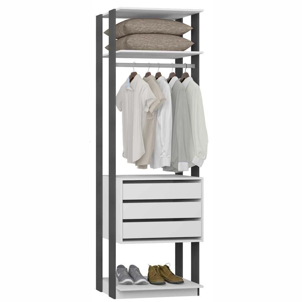 Closet Componível 3 Gavetas Cabideiro 70cm 1004 Clothes BE Móveis