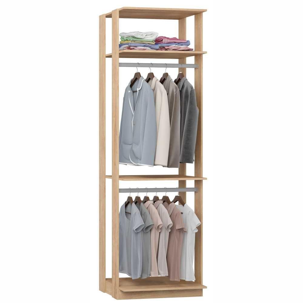 Closet Componível 3 Prateleiras 2 Cabideiros 70cm 1005 Clothes BE Mobiliário