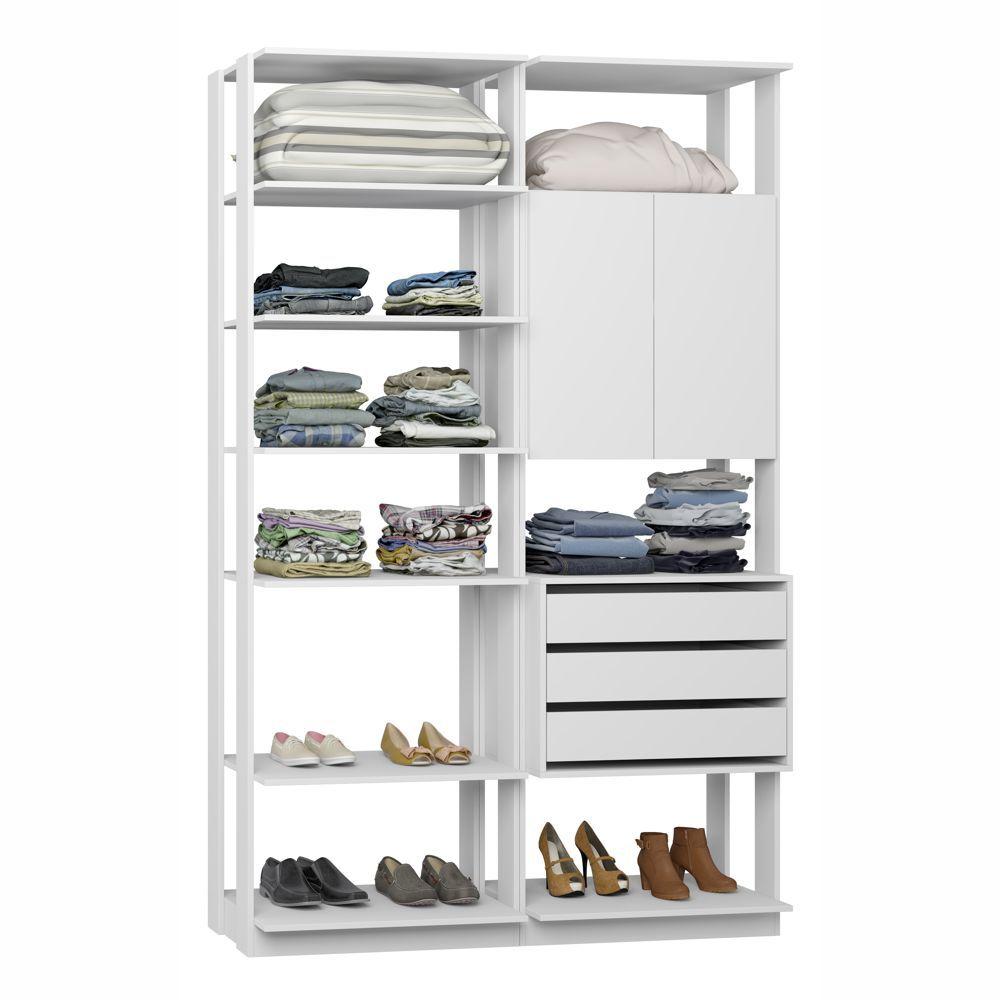 Closet Componível Completo 2 Peças 1,40m 9011 Clothes Be Mobiliário