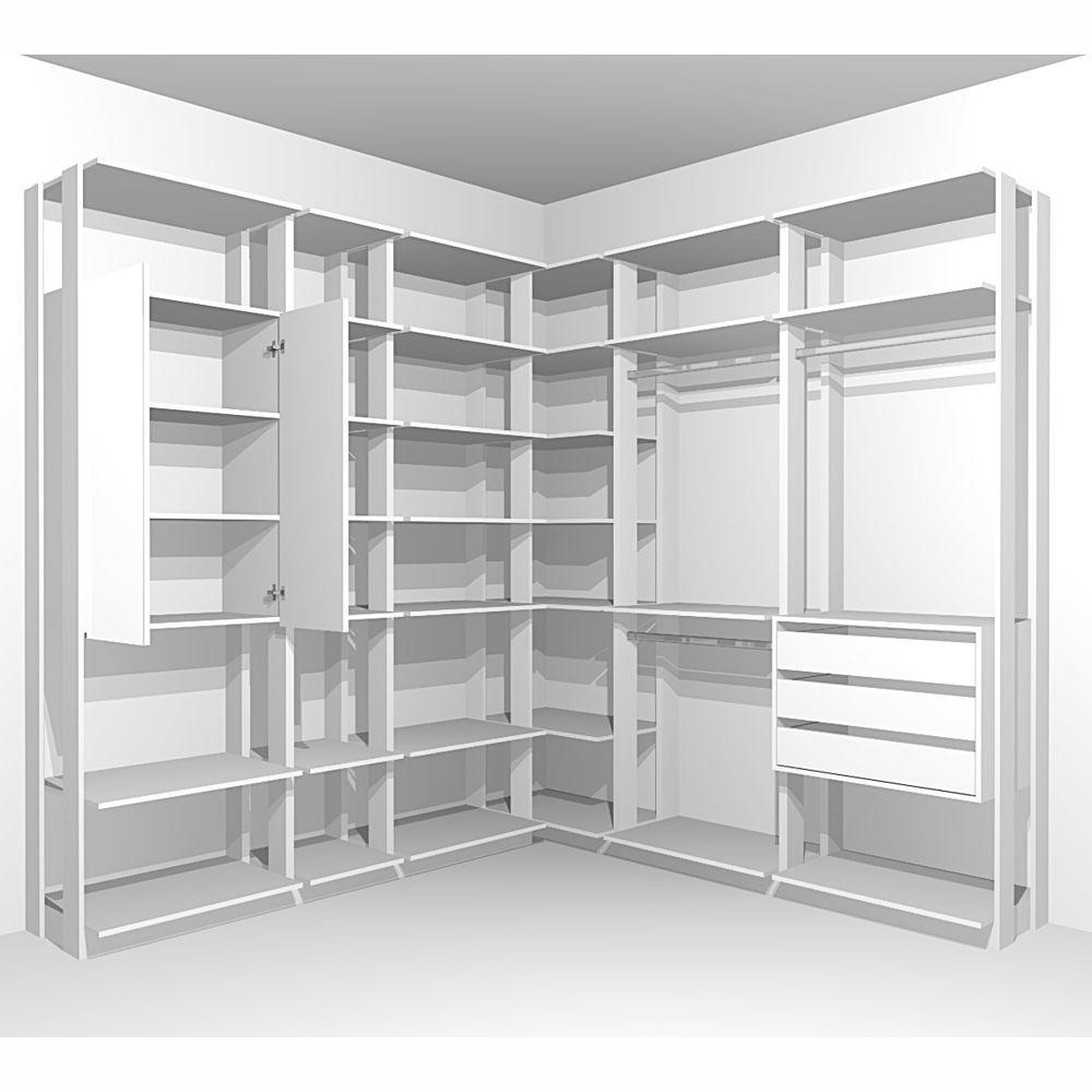Closet Componível Completo 6 Peças 2,25x2,10m 9001 Clothes Be Mobiliário