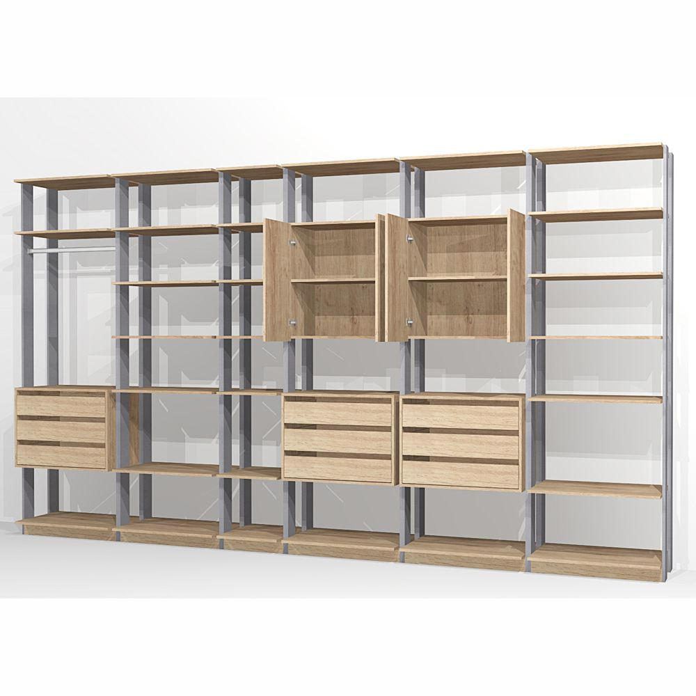 Closet Componível Completo 6 Peças 3,91m 9002 Clothes Be Mobiliário