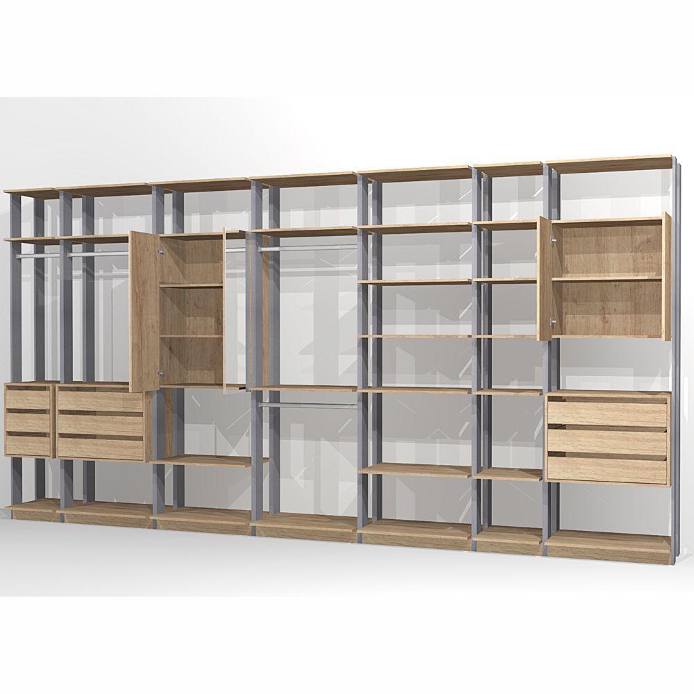 Closet Componível Completo 7 Peças 4,32m 9003 Clothes Be Mobiliário