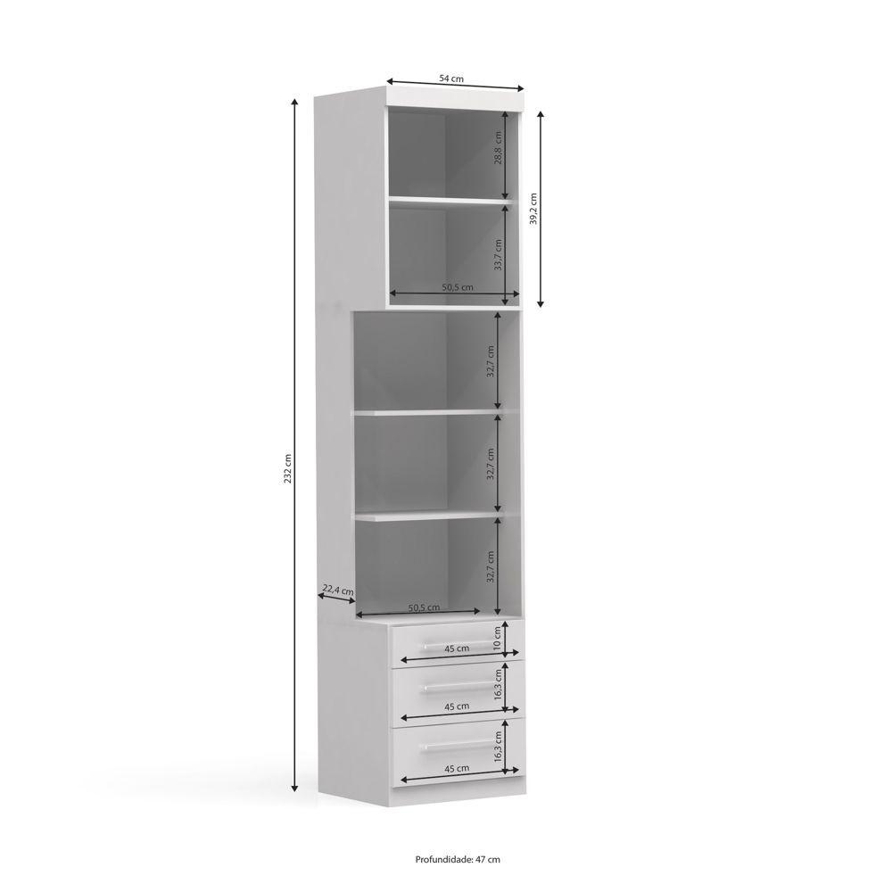 Complemento Smart 1 porta 3 gavetas A527 MDF Kappesberg