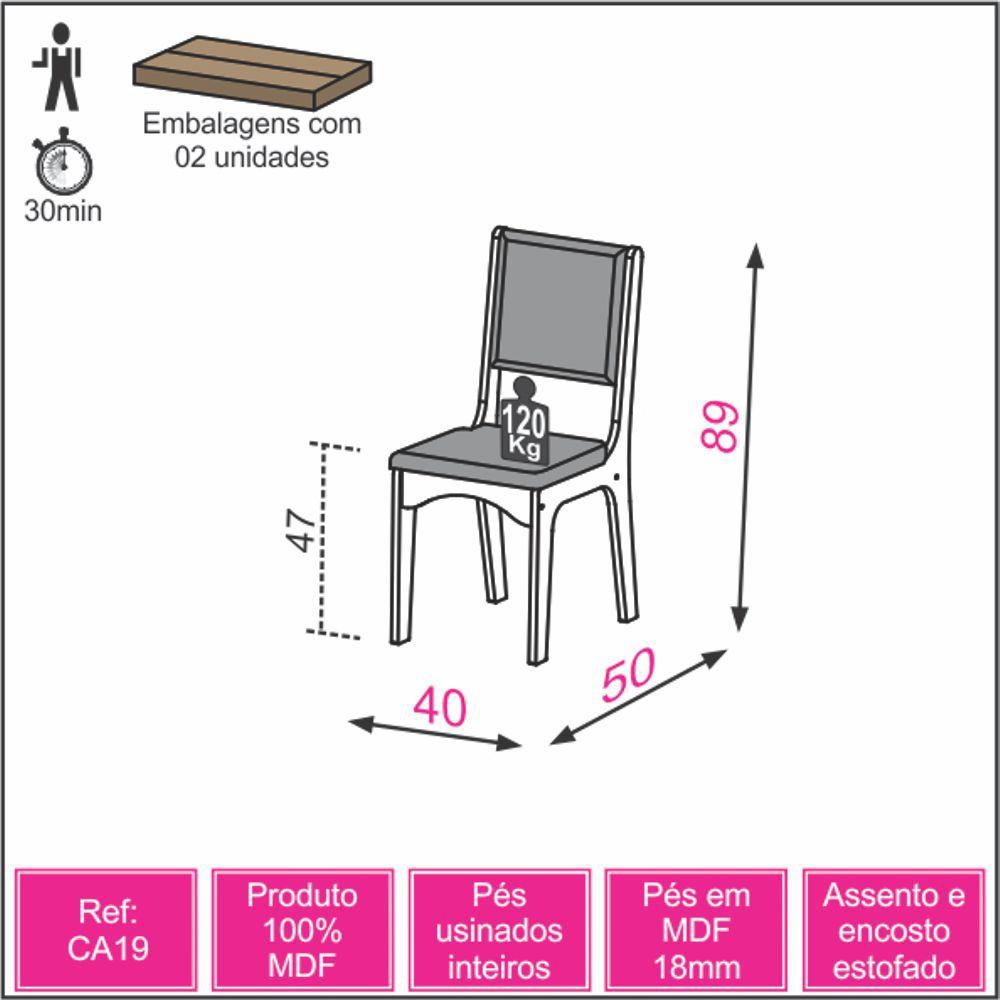 Conjunto 2 Cadeiras Estofadas MDF CA19/2 Dalla Costa