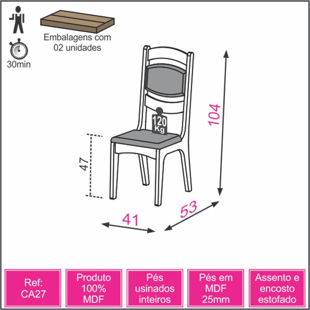 Conjunto 2 Cadeiras Estofadas MDF CA27/2 Dalla Costa