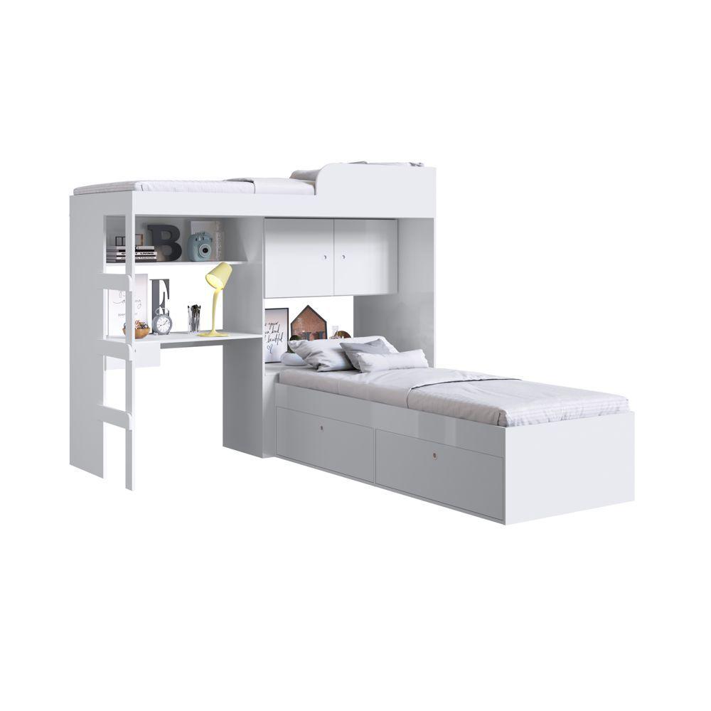 Conjunto Cama de Solteiro com Baú e Cama alta Lion com Escada e Escrivaninha CJ038 Art in Móveis