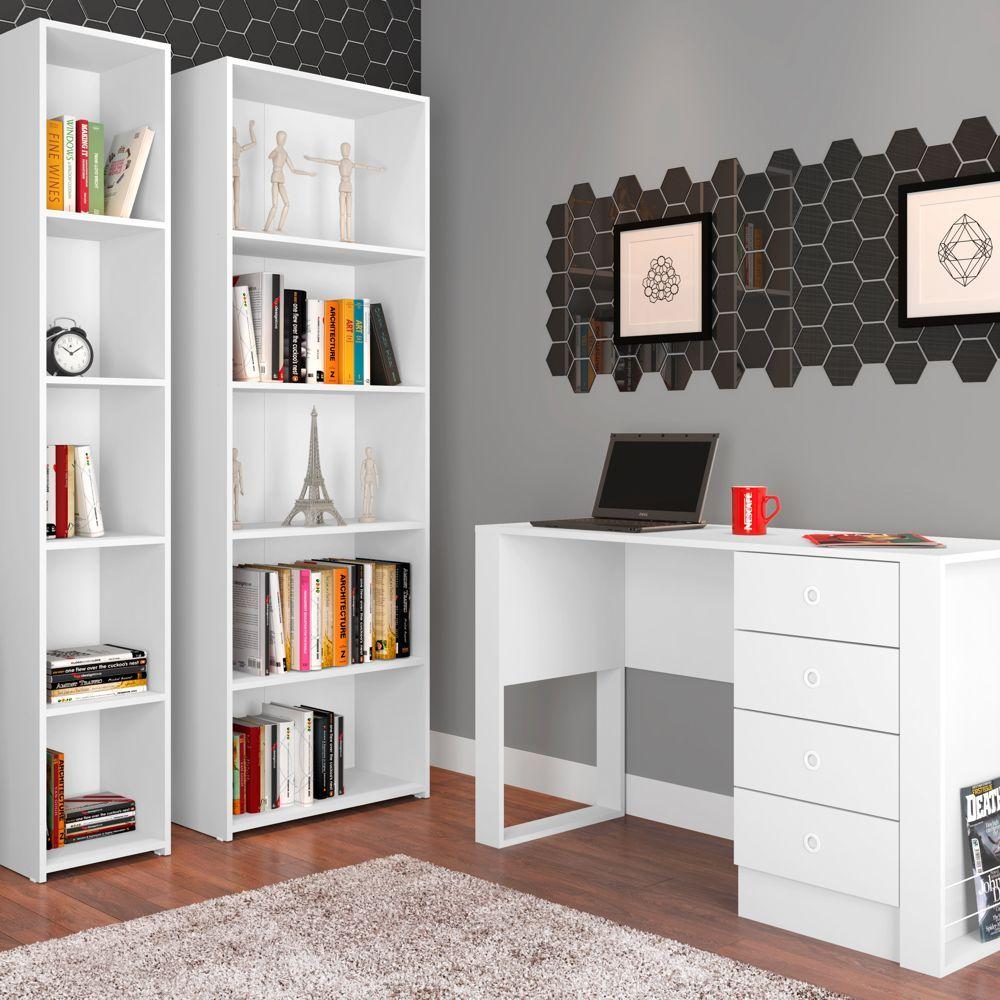 Conjunto com 2 Estantes para Livros e Escrivaninha CJ017 Art in Móveis