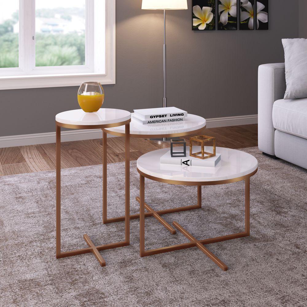 Conjunto com 3 mesas Laterais Estilo Industrial Volpi 24820 Artesano