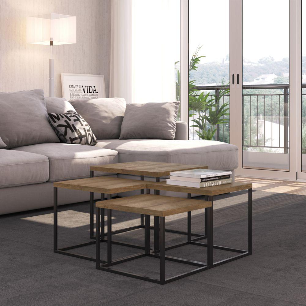 Conjunto com 4 mesas Laterais Estilo Industrial Cube 24806 Artesano