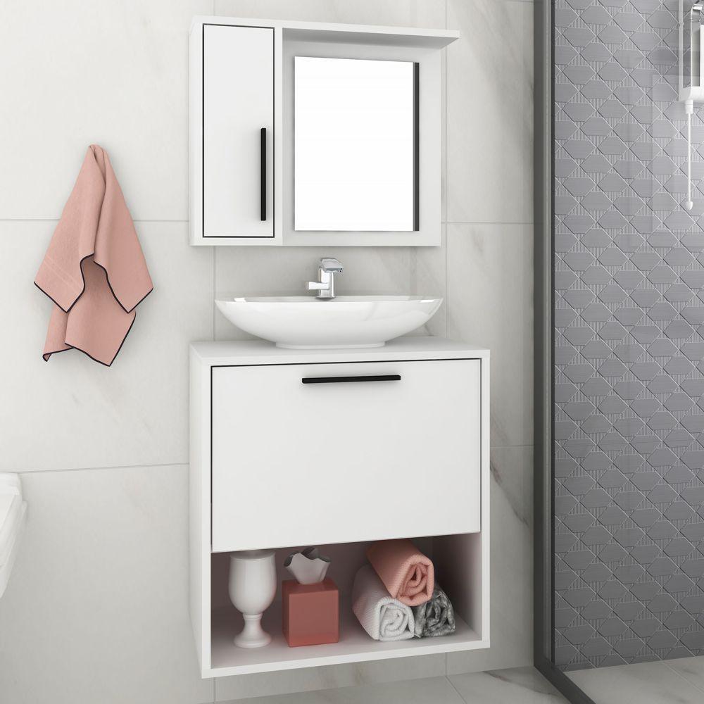 Conjunto com Gabinete e Armário de Banheiro 53,5cm BBN 18 BRV Móveis