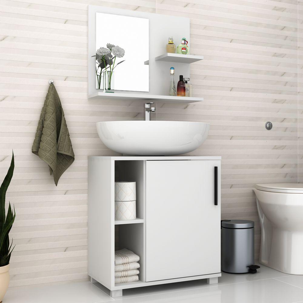 Conjunto com Gabinete e Armário de Banheiro 53,5cm BBN 19 BRV Móveis
