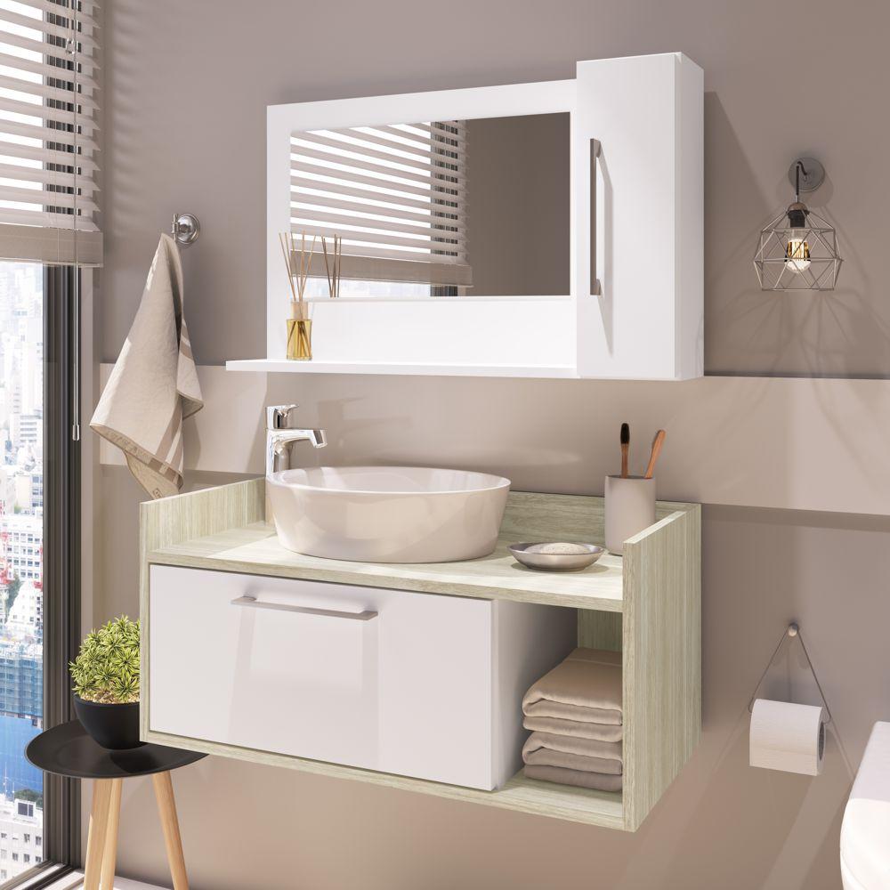 Conjunto de balcão e espelheira para banheiro Aiden 2 portas 1 nicho CONJ023 Estilare