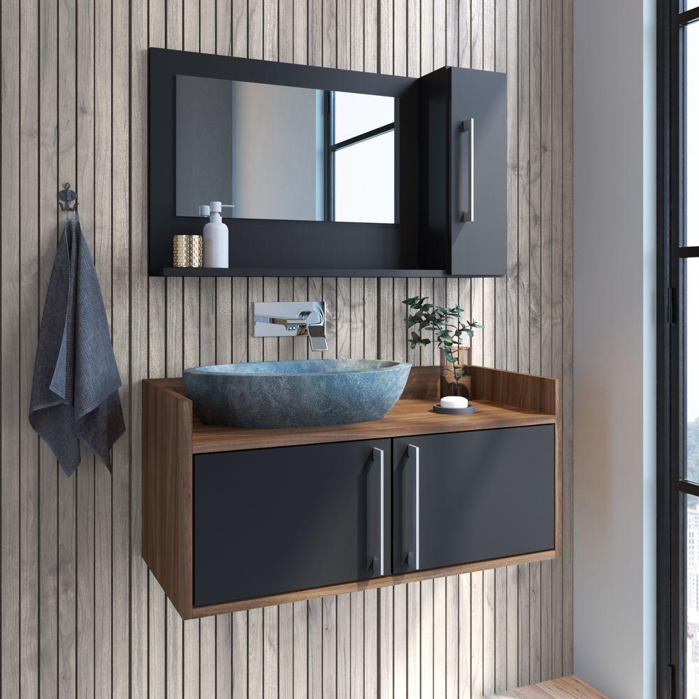 Conjunto de balcão e espelheira para banheiro Akira 3 portas CONJ026 Estilare