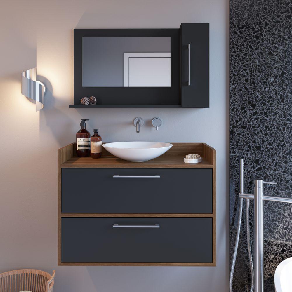Conjunto de balcão e espelheira para banheiro Arlo 3 portas CONJ032 Estilare