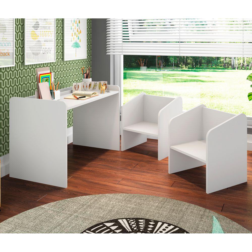 Conjunto de Escrivaninha e Cadeiras para Gêmeos 3pc Montessoriano CJ7000 Meu Fofinho
