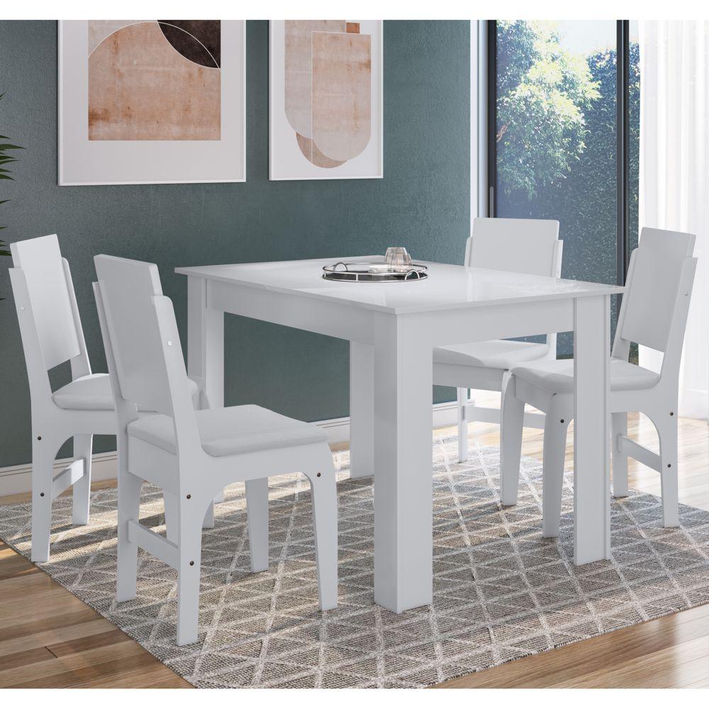 Conjunto de Mesa 1,20m com 4 cadeiras MDF Ref. 916 para Cozinha CJE11200 Canção