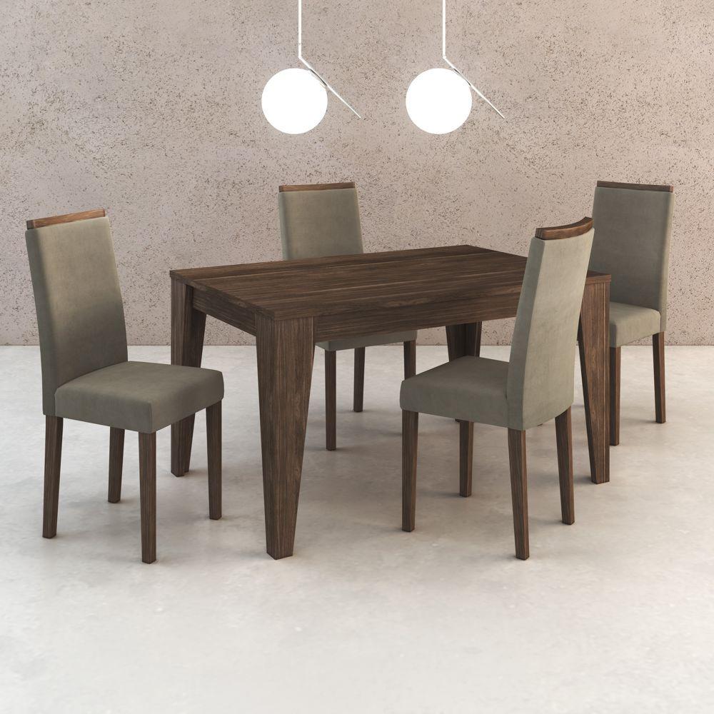 Conjunto de Mesa 1,36m + 4 Cadeiras de Jantar em Madeira CJ1000 Tecno Móbili