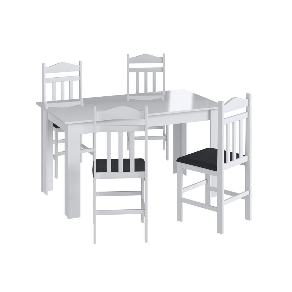 Conjunto de Mesa 1,40m com 4 cadeiras de madeira maciça Ref. 200 CJE11400 Canção