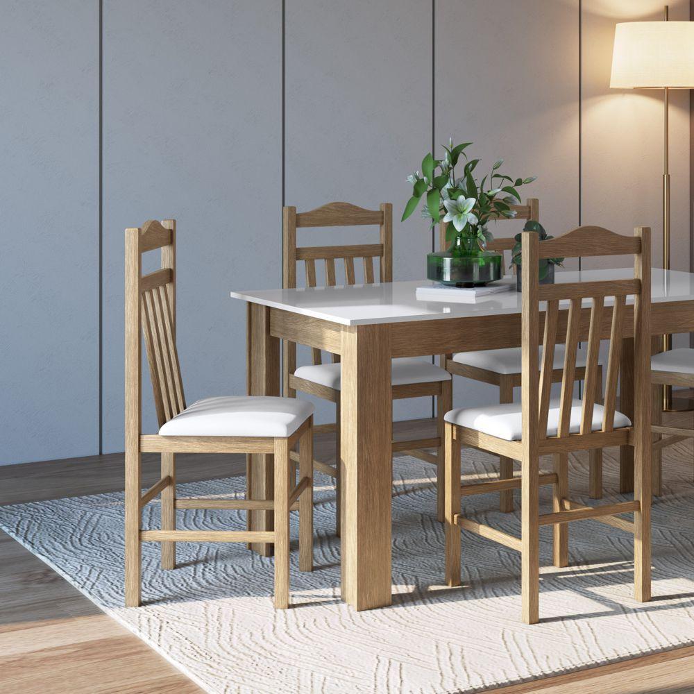 Conjunto de Mesa 1,40m com 4 cadeiras de madeira maciça Ref. 300 CJE11400 Canção