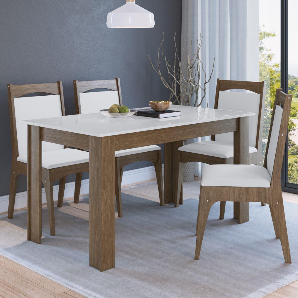 Conjunto de Mesa 1,40m com 4 cadeiras MDF Estofadas Ref. 917 CJE11400 Canção