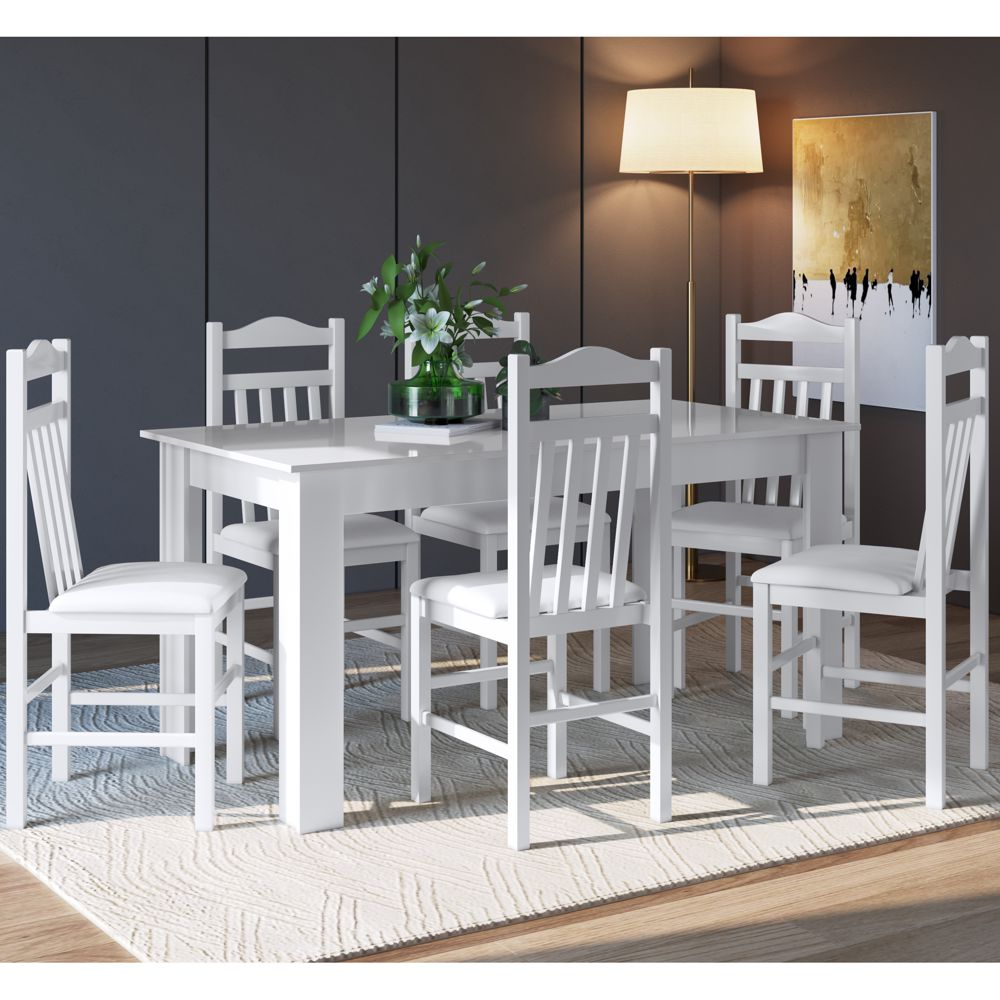 Conjunto de Mesa 1,50m com 6 cadeiras de madeira maciça Ref. 300 CJE11500 Canção