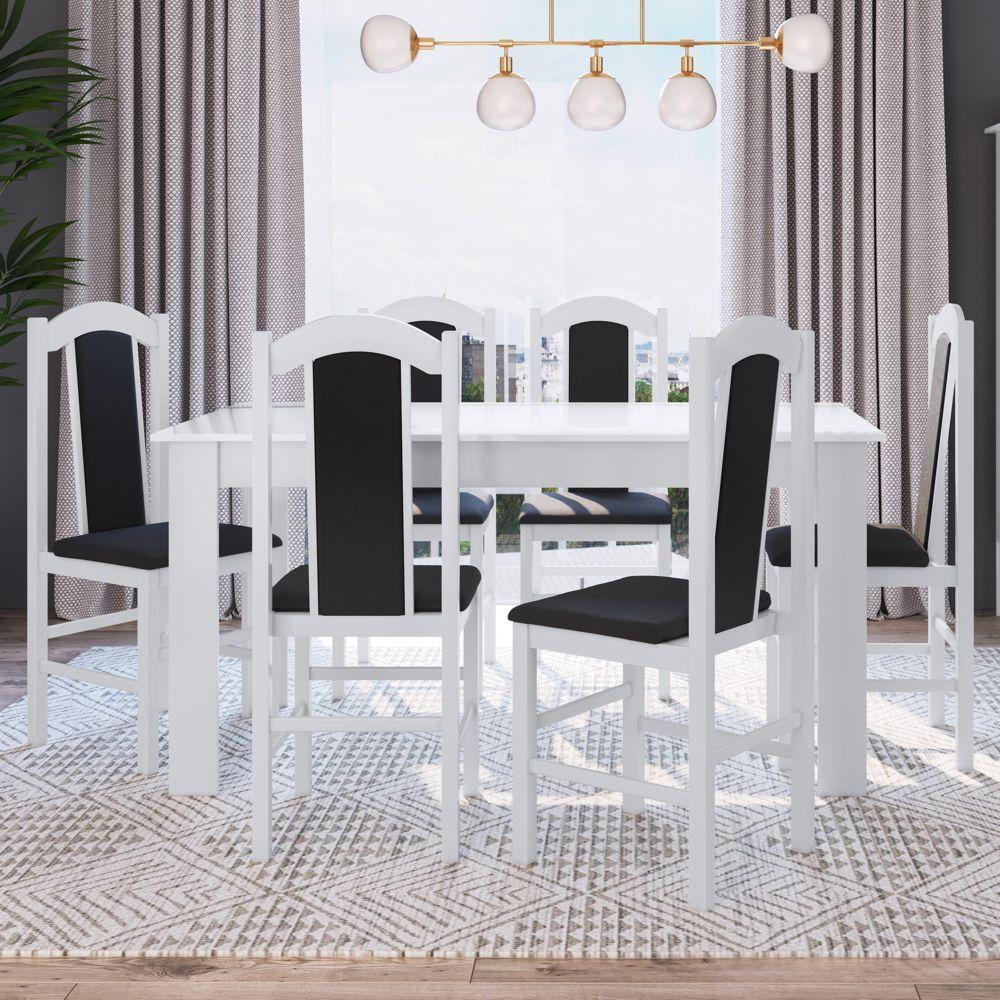 Conjunto de Mesa 1,50m com 6 cadeiras de madeira maciça Ref. 500 CJE11500 Canção