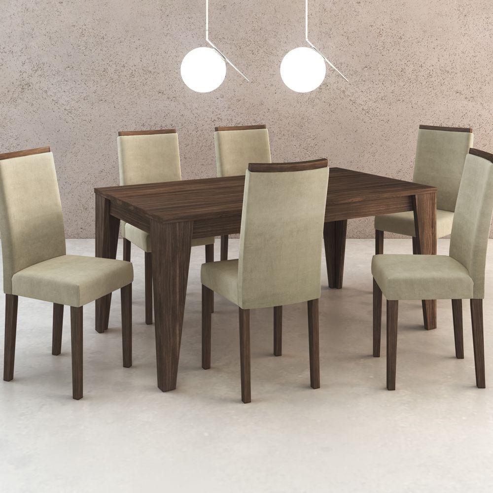 Conjunto de Mesa 1,60m + 6 Cadeiras de Jantar em Madeira CJ1001 Tecno Móbili
