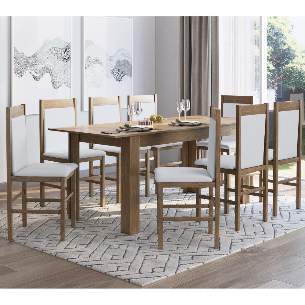 Conjunto de Mesa Extensível 160/190cm com 8 cadeiras estofadas 10305 Canção