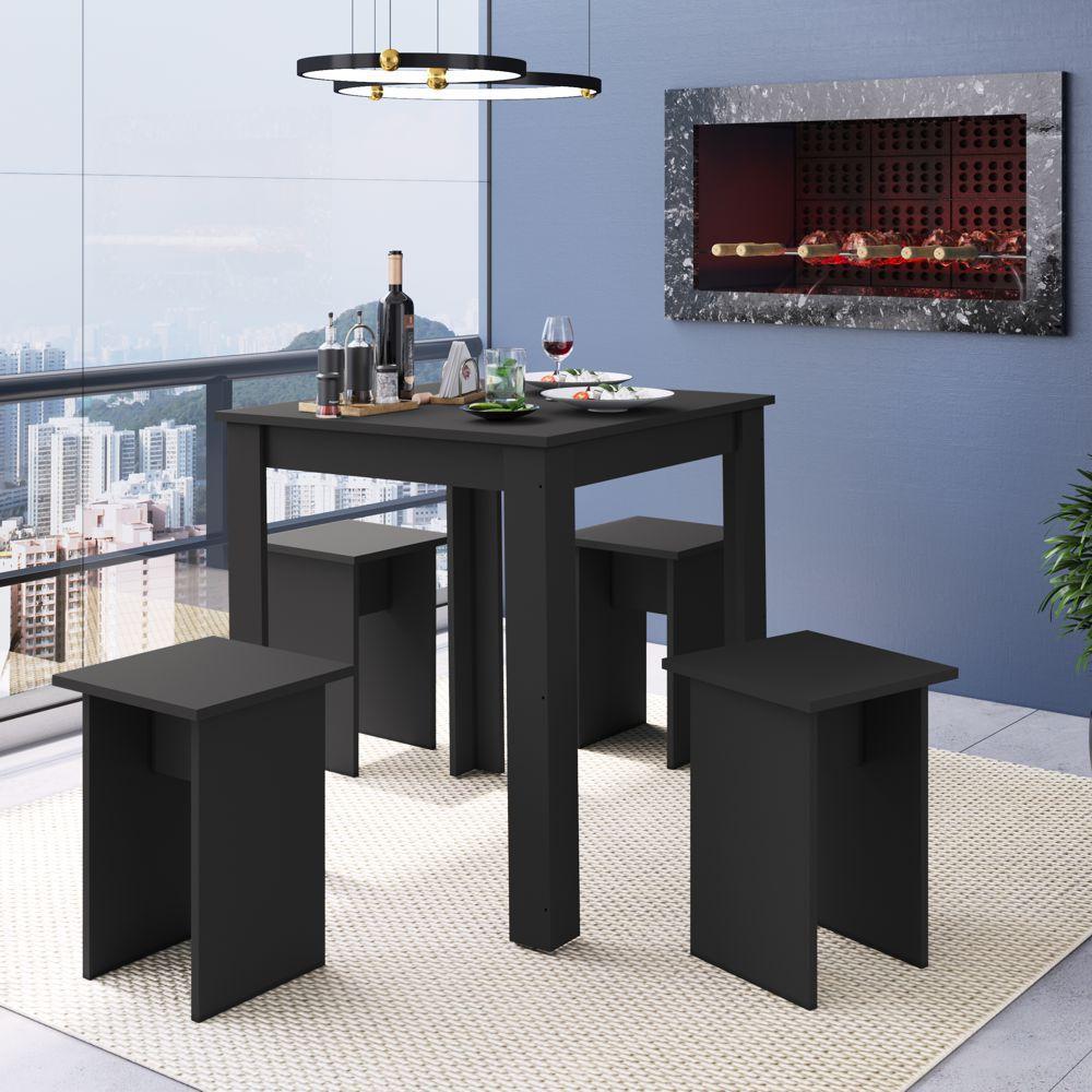 Conjunto de Mesa para Cozinha com 4 Banquetas Branco ou Preto Amalfi CJ700 Mia Coccina