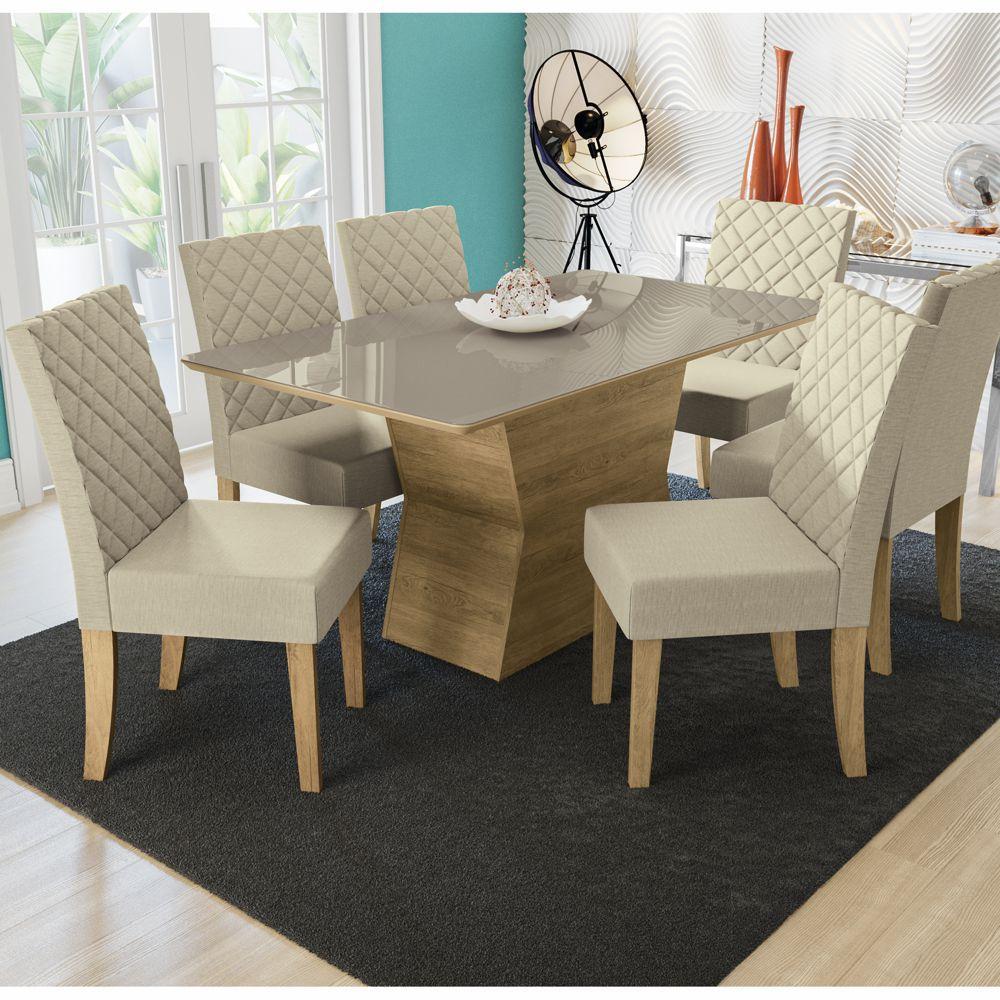 Sala de Jantar Conjunto de Mesa Tília 1,60x0,90m com 6 cadeiras e Tampo de Vidro Kappesberg