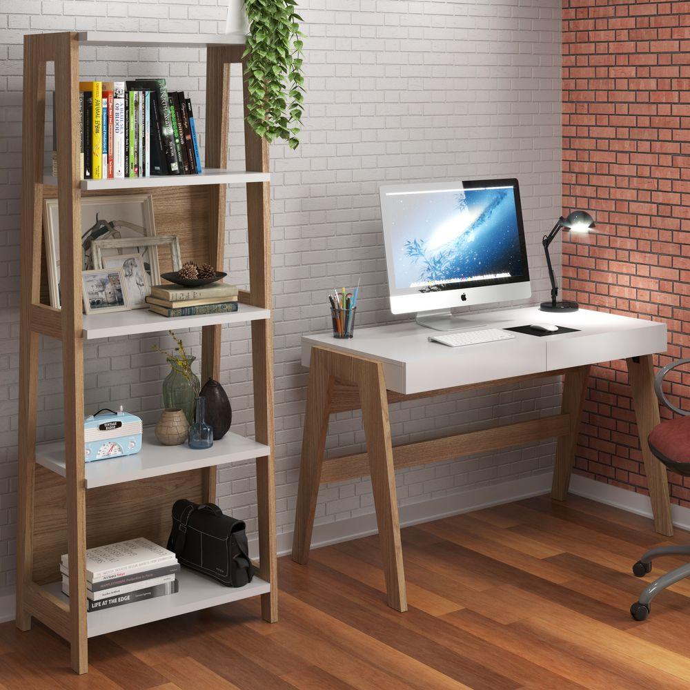 Conjunto Escrivaninha e Estante Retrô 2 gavetas 4 prateleiras 26108 Trend Artesano