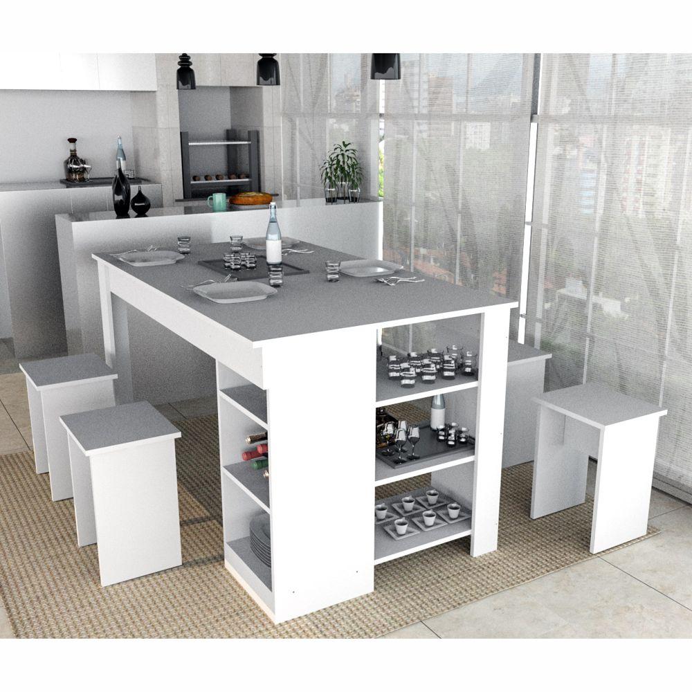 Conjunto Mesa de Jantar e 4 Bancos para cozinha Enjoy CON4005 Appunto Móveis