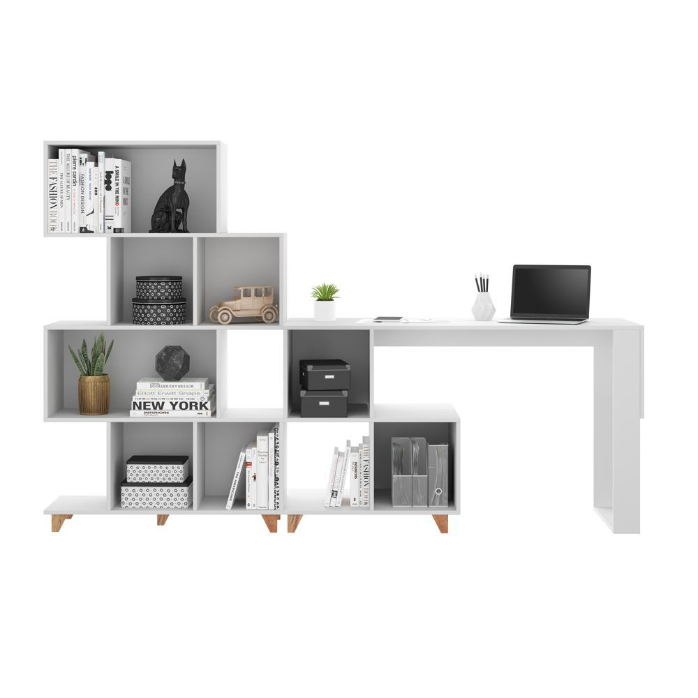 Conjunto mesa e estante 224cm 9003 Aurora Be Mobiliário