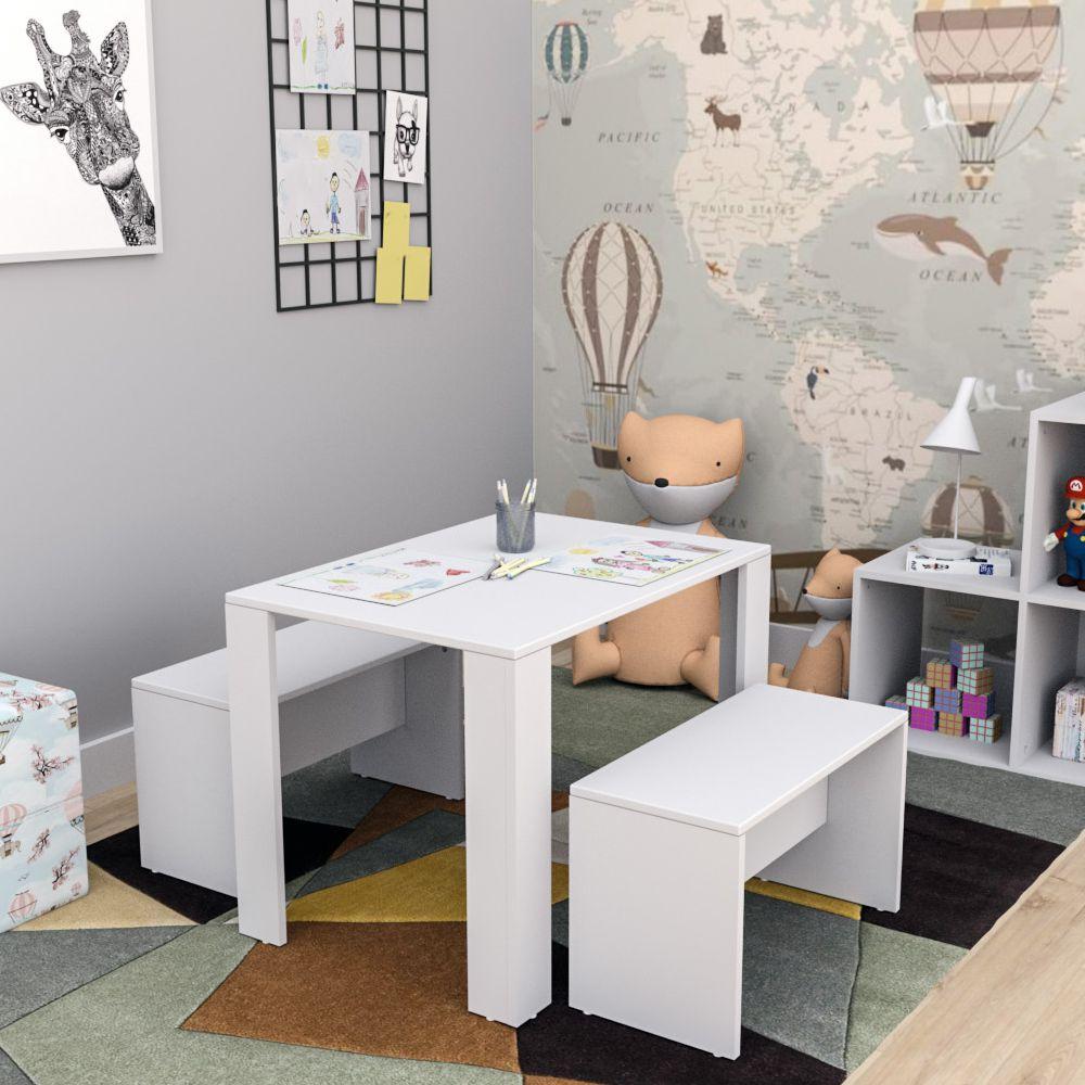 Conjunto Mesa Infantil com 2 Banquetas Con3601 Liv Kids Appunto Móveis