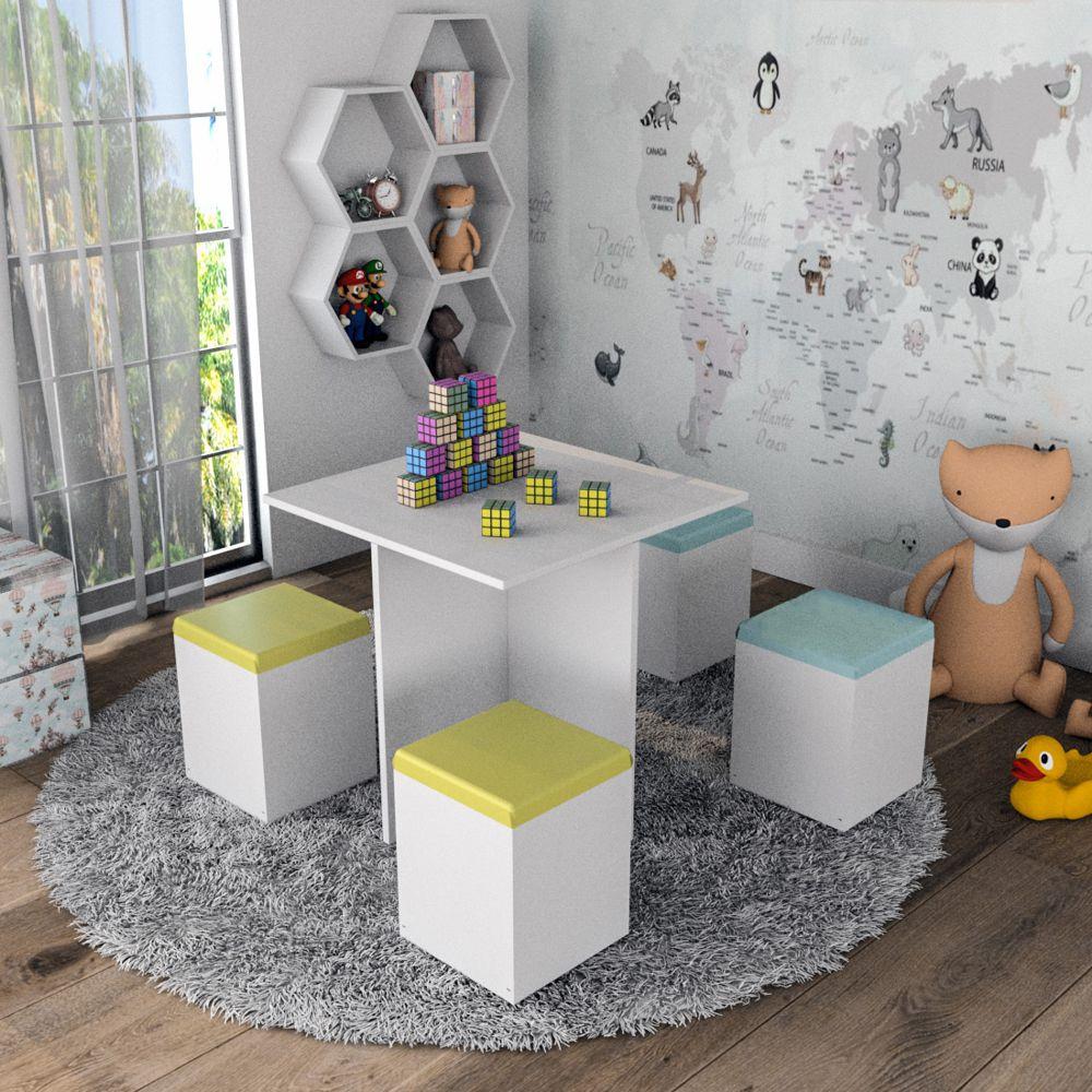 Conjunto Mesa Infantil com 4 Banquetas CON1202 Funny Appunto Móveis