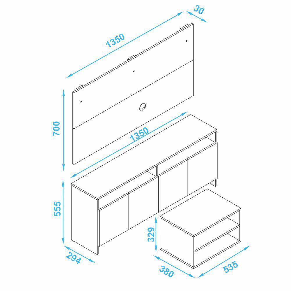 Conjunto para Sala com Rack Painel e Mesa de Centro BR 399 BRV Móveis