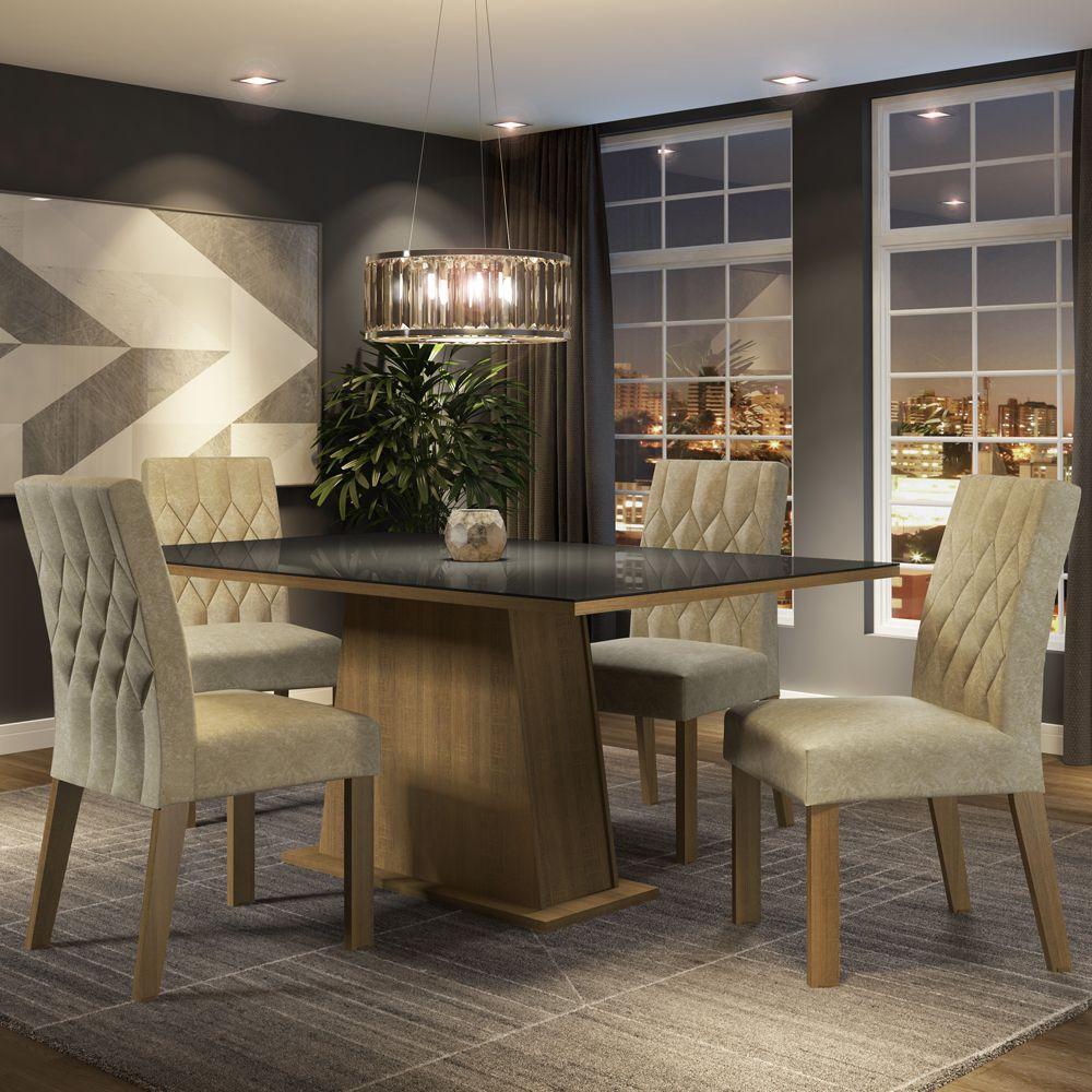 Conjunto Sala de Jantar Grazi Mesa Tampo de Vidro com 4 Cadeiras Madesa