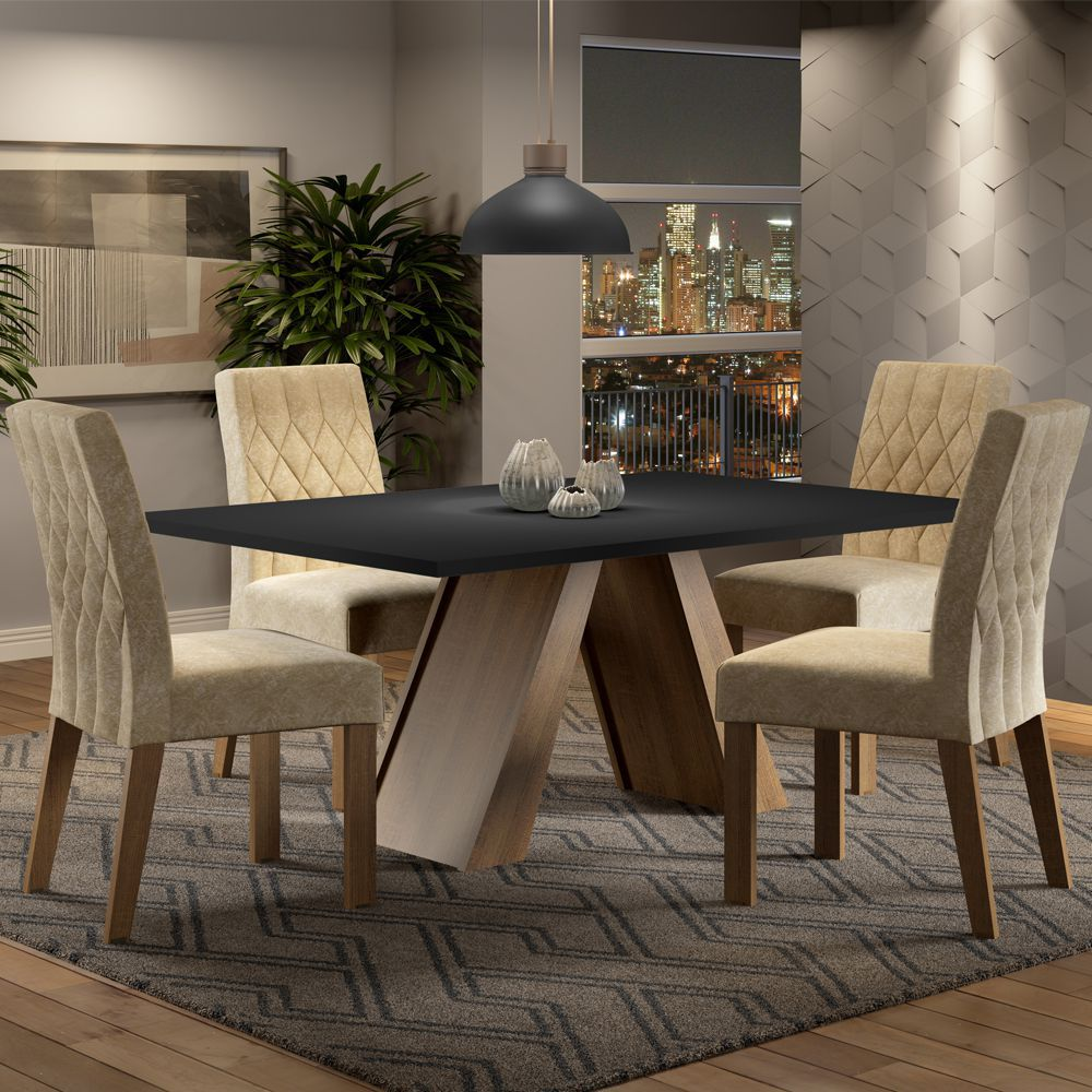 Conjunto Sala de Jantar Karen Mesa com 4 Cadeiras Madesa