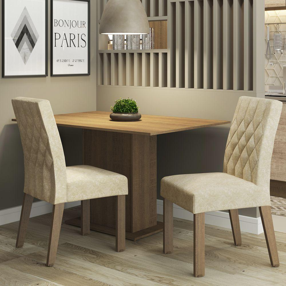 Conjunto Sala de Jantar Lia Mesa com 2 Cadeiras Madesa