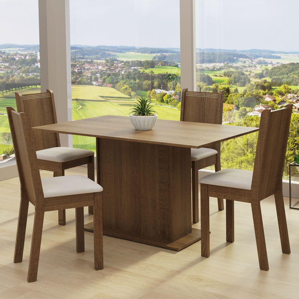 Conjunto Sala de Jantar Luana Mesa com 4 Cadeiras Madesa