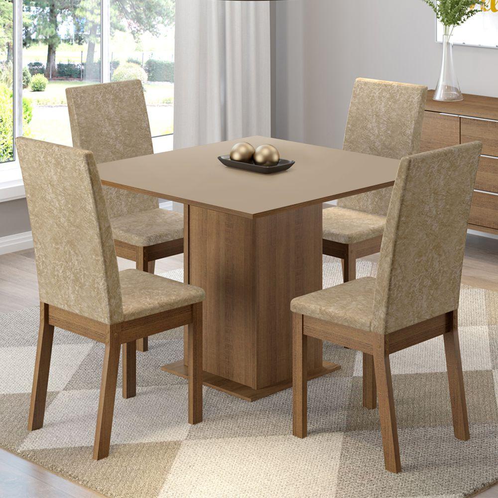 Conjunto Sala de Jantar Madri Mesa com 4 Cadeiras Madesa