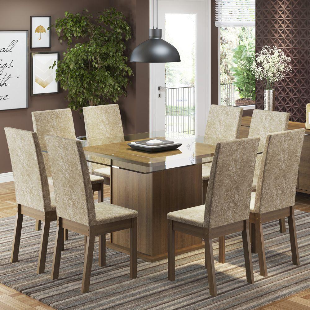 Conjunto Sala de Jantar Milene Mesa Tampo de Vidro com 8 Cadeiras Madesa