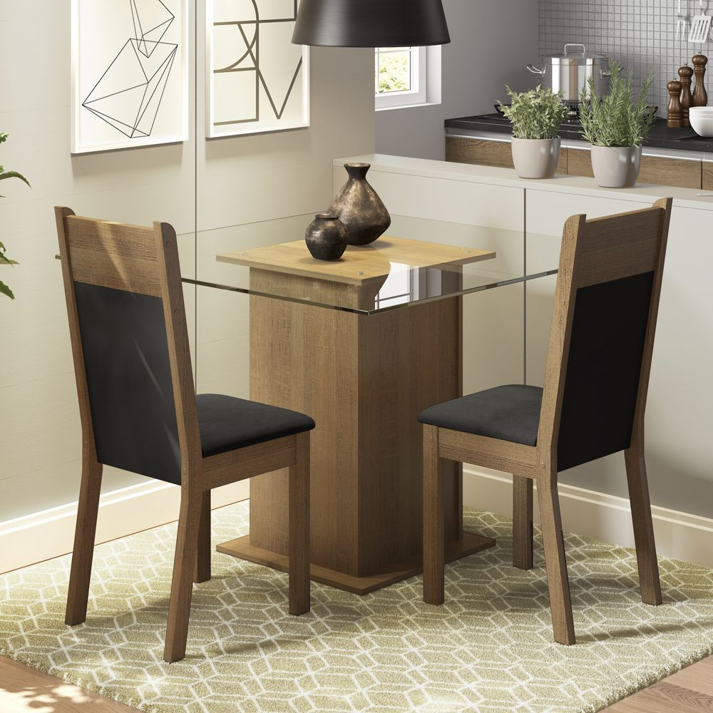 Conjunto Sala de Jantar Moni Mesa Tampo de Vidro com 2 Cadeiras Madesa