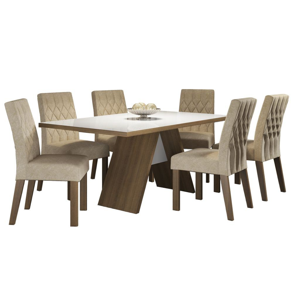Conjunto Sala de Jantar Nicole Mesa Tampo de Vidro com 6 Cadeiras Madesa