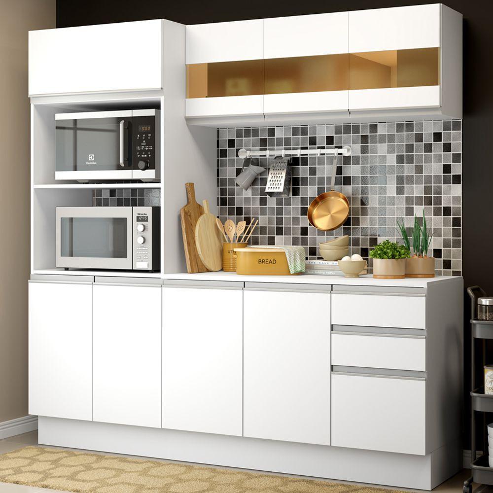 Cozinha Compacta 100% MDF Smart 1,90m Com Armário, Balcão e Tampo GRSM190001 Madesa