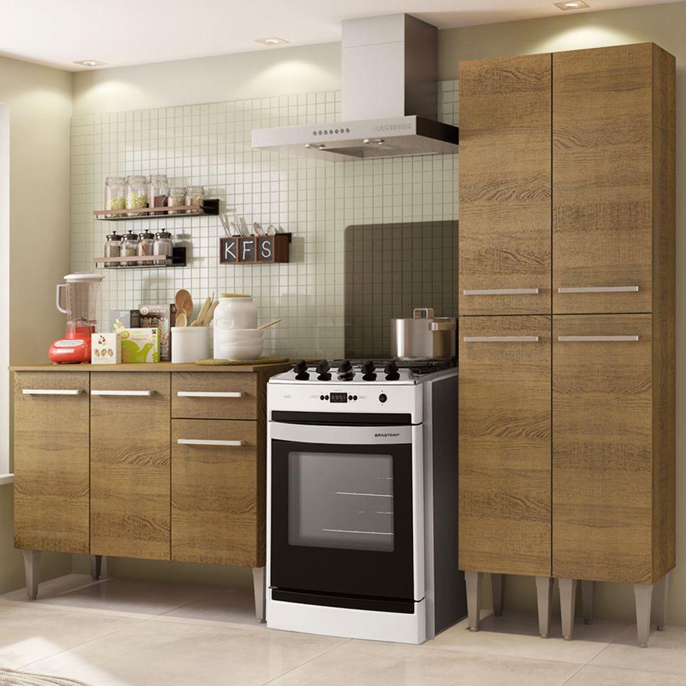 Cozinha Compacta Emilly Front com Balcão e Paneleiro GREM169002 Madesa