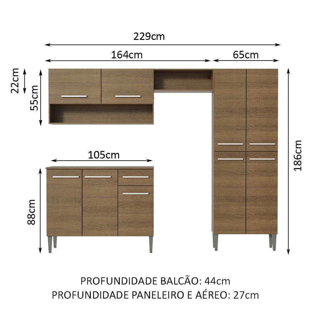 Cozinha Compacta Emilly Pop Com Armário e Balcão GREM229002 Madesa
