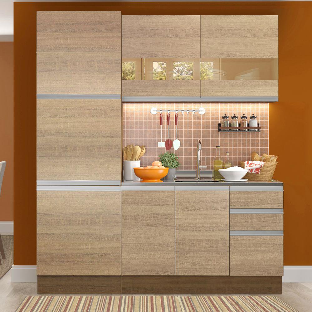 Cozinha Compacta Ester 7 Portas 3 Gavetas GRGL180001 Madesa