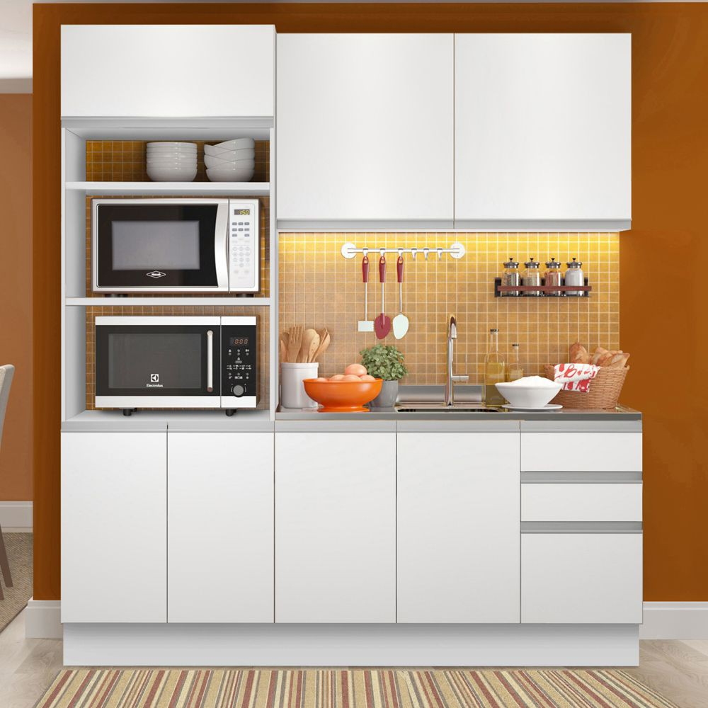 Cozinha Compacta Laura 7 Portas 3 Gavetas GRGL190002 Madesa