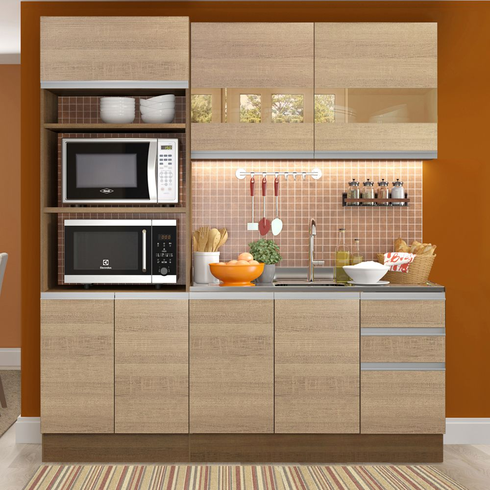 Cozinha Compacta Lorena 7 Portas 3 Gavetas GRGL190001 Madesa